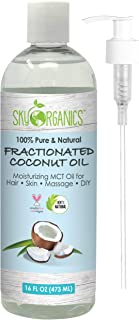 Pure Fractionated Coconut Oil by Sky Organics I 473 ml I 100% Pure MCT Oil (Cocos Nucifera) with PUMP. Ideal as a Massage Oil & Aromatherapy. Carrier Oil Made in USA. No Staining Tanning Oil - 16 oz