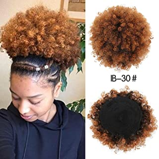 Short Kinky Curly Drawstring Short Ponytail Kanekalon Synthetic Hair Bun Up Donut Chignon Color Scrunchie Wig Hair Extensions(#T1B/30)