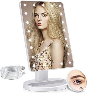 آینه غرور روشن COSMIRROR با آینه ذره بین 10X ، آینه روشن 21 LED با سنسور لمسی ، چرخش قابل تنظیم 180 درجه ، منبع تغذیه دوگانه ، آینه لوازم آرایشی قابل حمل (سفید)