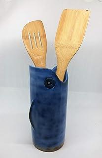 Tarro de cerámica. Simpático organizador decorativo con boca ancha ideal para utensilios de Cocina. Apto para lavavajillas.