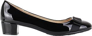 KRISP Women Low Block Heel Bow Patent Courts Ladies Work Party Ballerina Pumps Shoes