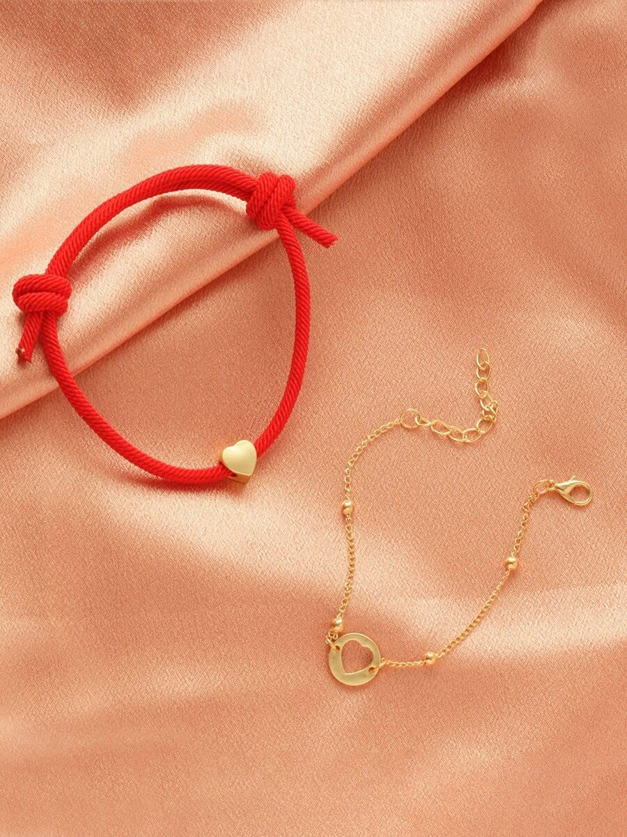 Max 68% OFF Department store xiangshang shangmao Charm Bracelets 2pcs C Decor Heart Bracelet