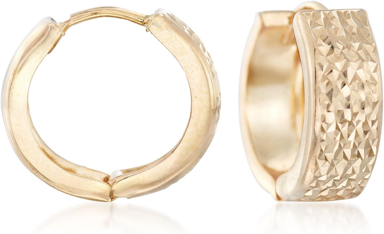Ross-Simons Italian 18kt Yellow Gold Faceted Hoop Earrings