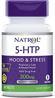 Natrol 5-HTP Time Release tablets, Promotes a Calm Relaxed Mood, Helps Maintain a Positive Outlook, Enables Production of Serotonin, Drug-Free, Controlled Release, Maximum Strength, 200mg, 60 Count