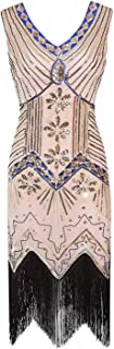 Vintage 1920s Flapper 2019 Summer Fancy Costumes V Neck Cap Sleeve Sequin Fringe Party Midi Dresses,As Shown,M