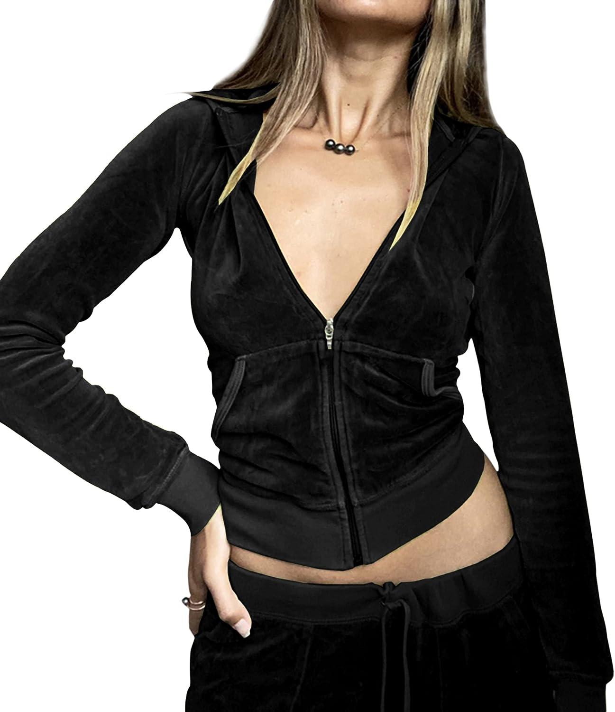 MISSACTIVER Women Y2K Velour Full Zip Up Crop Hooded Sweatshirt Solid Plain Long Sleeve Harajuku Pocket Jacket Jumper Top