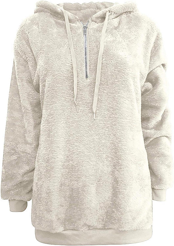 ZDNB 2021 Women Quarter Zip Fleece Fuzzy Hooded Pullover Sweatshirt Winter Warm Wool Zipper Pockets Cotton Coat Outwear
