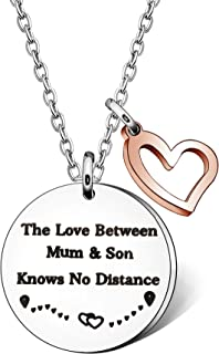 Mum and Son Gifts - The Love Between Mum & Son Knows No Distance Christmas Necklace Long Distance Jewellery