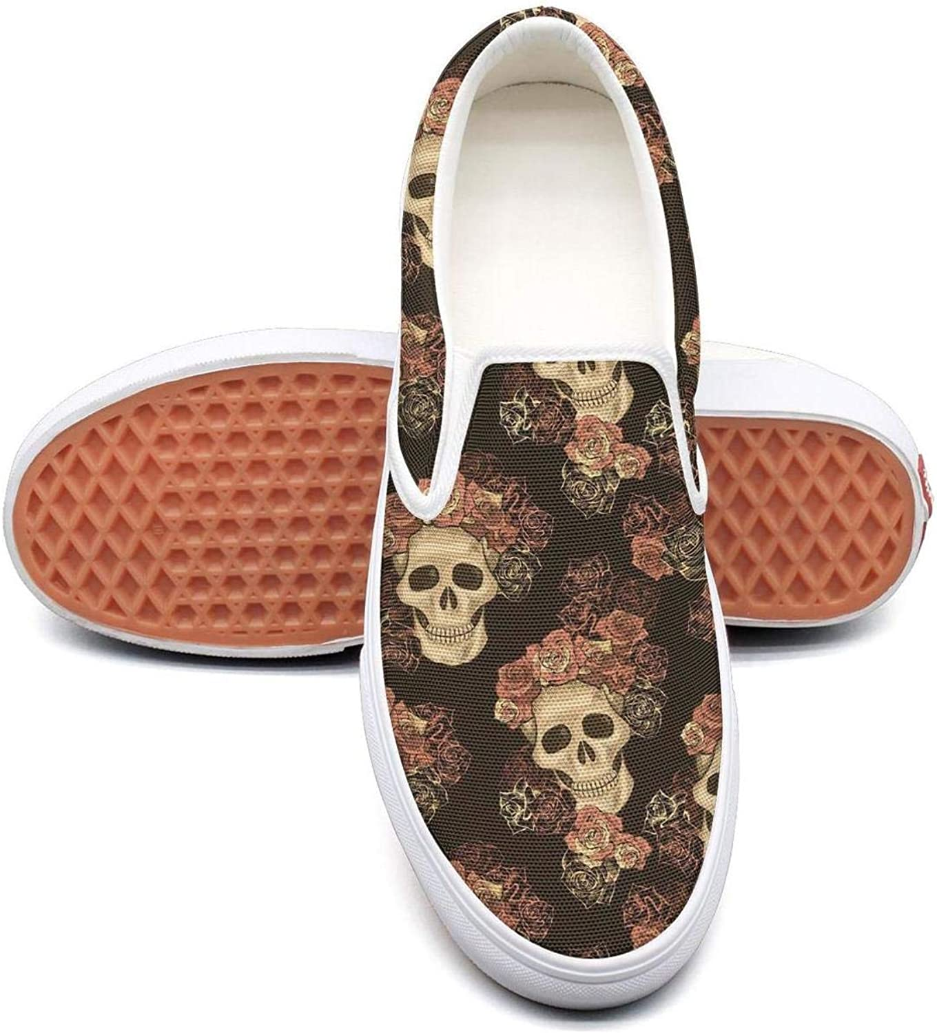 Candy Mexican Skull Art Slip On Canvas Upper Sneakers Canvas shoes for Women Fashion