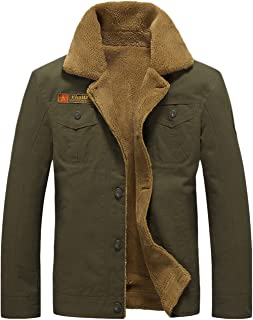 Men's Casual Single Breasted Sherpa Lined Cotton Bomber Jacket