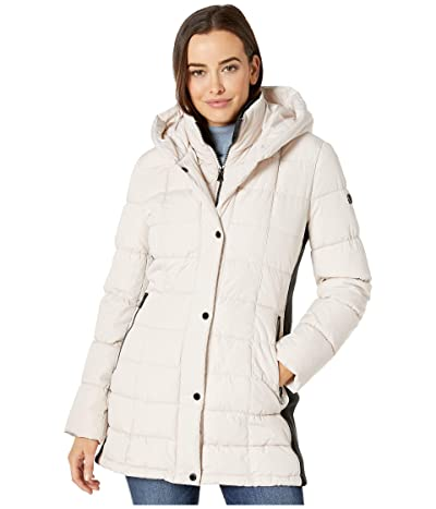 Calvin Klein Traditional Down with Bib Insert Knit Detail at Sleeve and Side Panels (Oyster) Women