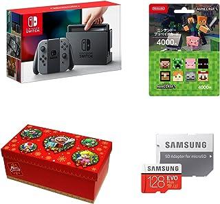 任天堂 Nintendo Switch Joy-Con (L) / (R) 灰+任天堂预付卡 礼品套装【大】 (BOX规格:马里奥ver.) +Samsung microSDXC卡 128GB EVO Plus MB-MC128GA/ECO