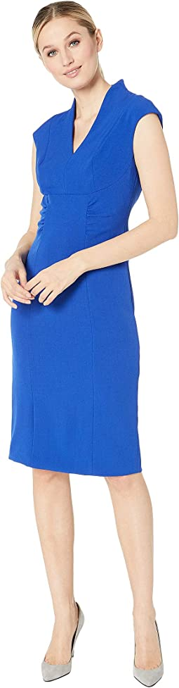 Cap Sleeve Stretch Crepe Side Shirred Dress