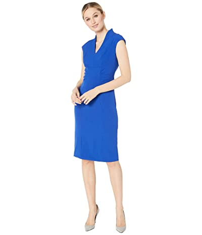Tahari by ASL Cap Sleeve Stretch Crepe Side Shirred Dress (Spring Royal Royal) Women