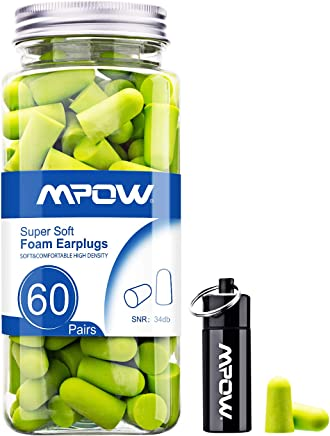 Mpow 055 Ear Plugs, 34dB SNR Soft foam EarPlugs, 60 Pairs EarPlugs with Aluminum Carry Case, Noise Reduction Sponge Ear Plugs for Hearing Protection, Sleeping, Working, Shooting, Travel - Green