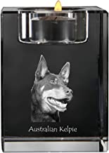 Australian Kelpie, Crystal Candlestick, Candle Holder with Dog, Souvenir, Limited Edition