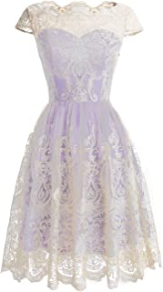 DRESSTELLS Women's Homecoming Floral Embroidered Lace Cocktail Maxi Dress with Cap-Sleeves