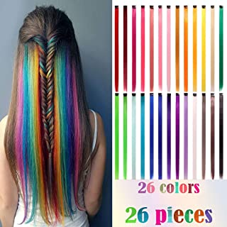 26PCS of 22 Inches Clip in Synthetic Hair Party Highlights Straight Hair Colorful Hairpieces Heat Resistant Synthetic Hair Extensions in Multiple Colors Bundle (26 Colors)