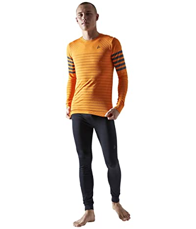 Craft Fuseknit Comfort Blocked Round Neck Long Sleeve (Tiger/Asphalt) Men