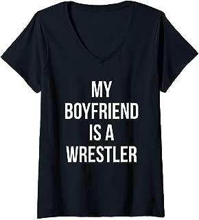 Womens My Boyfriend Is A Wrestler Gift For Girlfriends Boyfriends V-Neck T-Shirt
