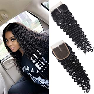 Brazilian Deep Curly Wave Lace Closure 4X4 Middle Part Virgin Human Hair Lace Closure Natural Black(20 inch)
