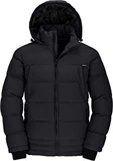 Men's Puffer Coat Insulated Windproof Quilted Jacket with Fixed Hood
