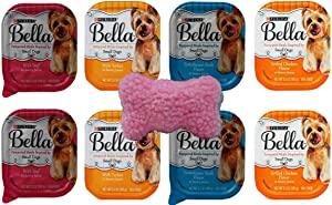 Purina Bella Small Breed Dog Food 4 Flavor 8 Can with Toy Bundle, (2) Each: Turkey, Grilled Chicken, Porterhouse Steak, Beef (3.5 Ounces)