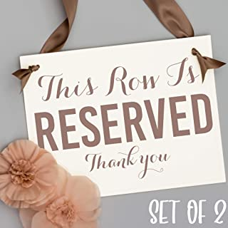 Reserved Row Signs Set of 2 Wedding Chair Aisle Seat Banners | This Row Is Reserved, Thank You | Ceremony Event Pew Conference Aisle Signage Taupe Ink + Ribbon on Ivory Paper