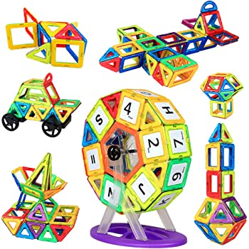 HannaBlockマグネットブロック 知育玩具 子供 おもちゃ 男の子 女の子 磁石ブロック マグネットおもちゃ 想像力と創造力を育てるオモチャ パズル 幼児 出産祝い 誕生日プレゼント 入園 クリスマス ギフト 贈り物 収納ケース付き