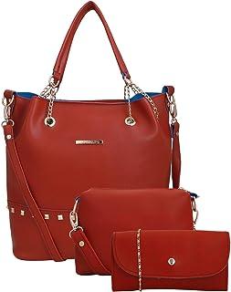 Lapis O Lupo Women Fashion Tote Handbag Bag Sling Bag Pouch With Sling Shoulder Top Handle Tote Bag Satchel Purse Set 3pcs