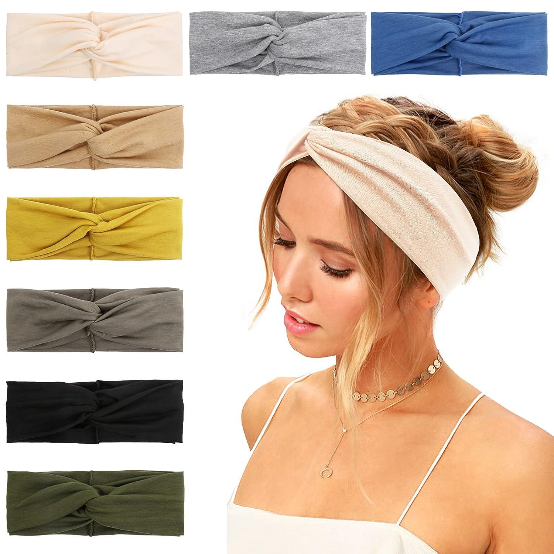 Huachi Women Headbands Headwraps Stretch Turban Head Bands Workout Summer Hair Accessories, 8 Pack