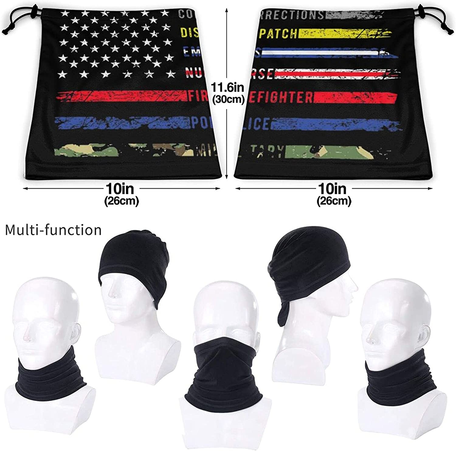 First responders hero flag nurse ems police fire military unisex winter neck gaiter face cover mask, windproof balaclava scarf for fishing, running & hiking