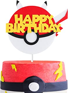 MALLMALL6 Cake Topper Video Game Party Cake Decoration Supplies Pikachu Inspired Birthday Baby Shower Cake Topper for Boy and Girl
