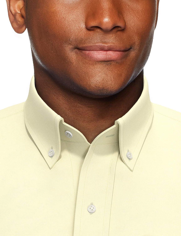Brand Buttoned Down Mens Classic Fit Button Collar Solid Non-iron Dress Shirt Long Sleeve Dress Shirt