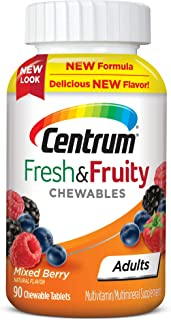 Centrum Adults Fresh & Fruity Chewables Multivitamin/Multimineral Supplement Mixed Berry, 90 Count