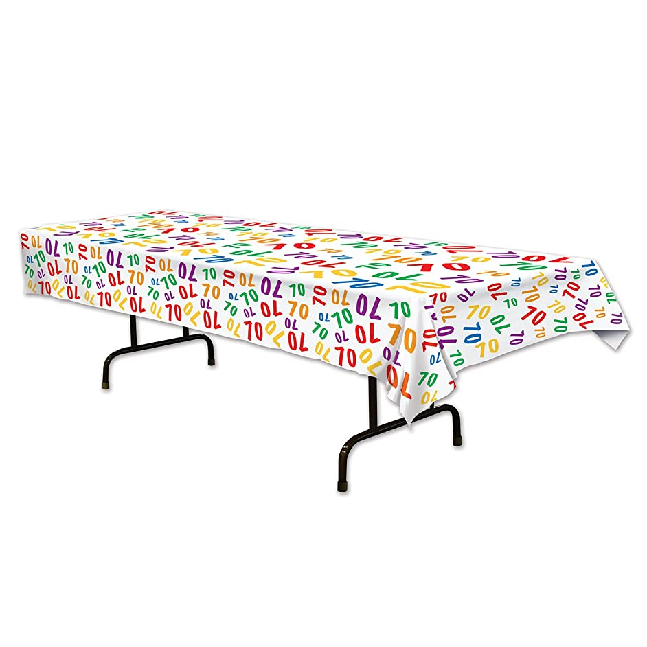 Beistle 70 Tablecover, 54 by 108-Inch, Multicolor