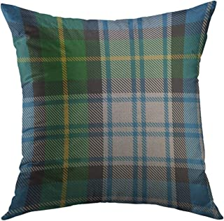 Mugod Throw Pillow Cover Blue Scottish Classic Clan Macneil Tartan Green Customizable Home Decor for Couch Sofa Decorative Pillow case 18x18 Inch