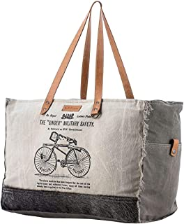 Sixtease Singer Upcycled Canvas & Leather Weekender Bag SB-2332