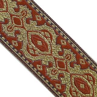 JL 373 Jacquard Metallic Gold Vintage Burgundy Ribbon Trim 2