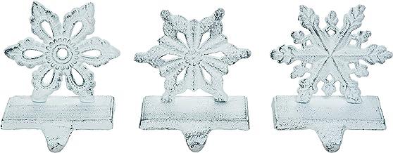 Snowflake Rustic White 6 x 5 Iron Metal Christmas Stocking Hangers Set of 3