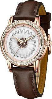 Montre pour Femme Pas Cher avec Bracelet en Cuir Montre pour Femme de Mode Montre à Cadran à Quartz Analogique Diamant pou...