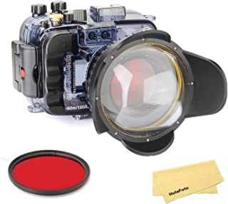 SeaFrogs Underwater Camera Housing Case, w/Fisheye Lens Dome Port and Full Color Red Filter Kit, Waterproof Protective Diving case for Sony A6500 A6300 A6000, 60m/195ft