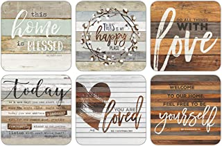 Legacy Publishing Group Inspirational Round Cork-Backed Coaster Set, 6-Count, This Home Is Blessed