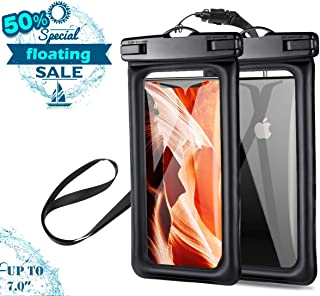 Waterproof Phone Pouch Floating, 2 Pack Capshi Universal Waterproof Case, Cellphone Dry Bag Compatible With iphone Xs Max, X, Max, 8 Plus, 7 Plus, 6s Plus, Samsung Galaxy s7, s8, s9, Note 7 up to 7.0