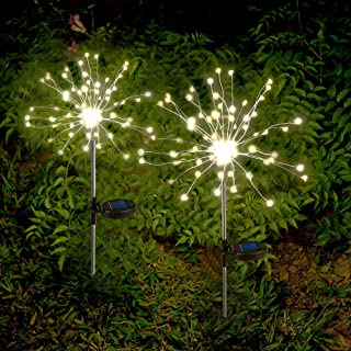 Solar Garden Lights Solar Firework Lights Solar Powered String Light with 2 Lighting Modes Twinkling and Steady-ON for Gar...