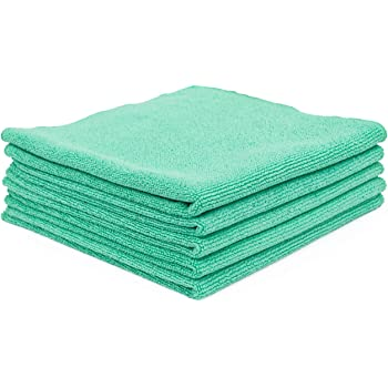 The Rag Company (5-Pack) 16 in. x 16 in. The Pearl Professional Microfiber Ceramic Coating/Sealant/Interior Detailing Towels 320gsm Pearl-Weave (16x16, Green)