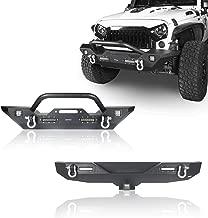 Hooke Road Different Trail Front Bumper w/Winch Plate & Rear Bumper w/Hitch Receiver Combo (2007-2018 Jeep Wrangler JK)