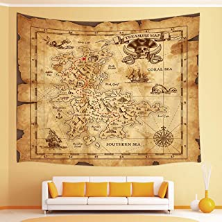 JAWO Island Map Tapestry, Old Pirates Treasure Map Nautical Wall Tapestry, Tapestry Wall Hanging for Bedroom Living Room Dorm 71X60Inches