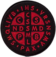 Hook Red Black St. Benedict Cross Medal Tactical Morale Christian Patch SB01