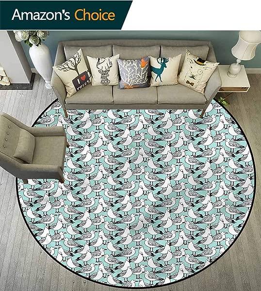 RUGSMAT Seagulls Machine Washable Round Bath Mat Natural Wildlife Pattern Non Slip No Shedding Kitchen Soft Floor Mat Diameter 47